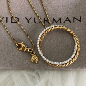 David Yurman 18K Gold DIAMOND Infinity Necklace